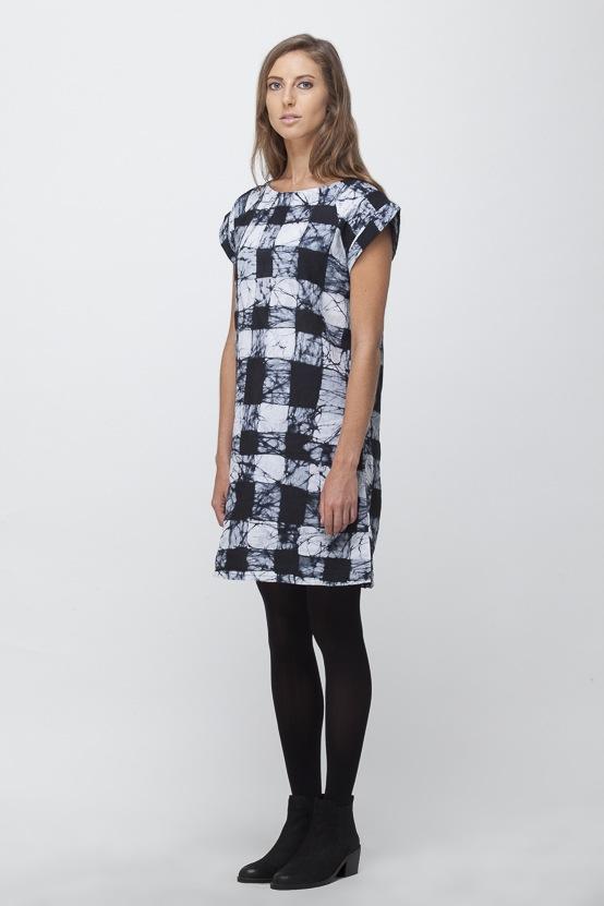 Osei-Duro Deni Raglan Dress | B&W Gingham