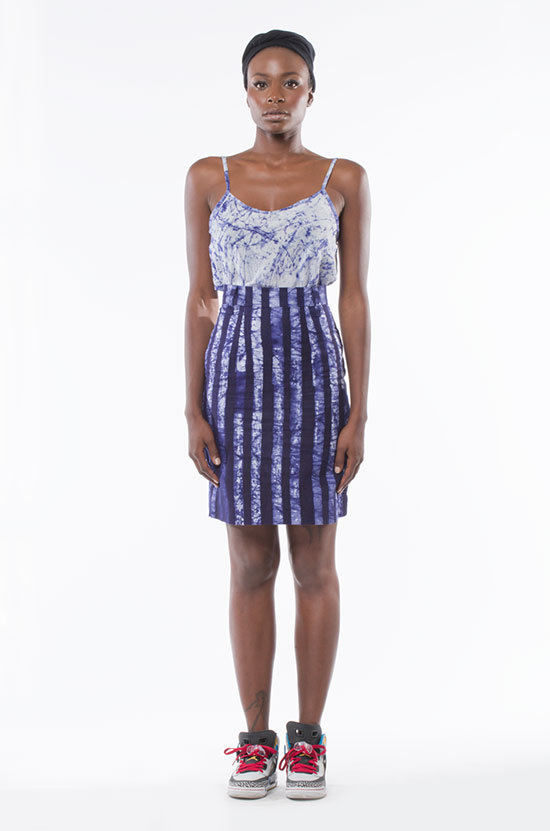 Osei-Duro Graphis Skirt in Navy Stripe