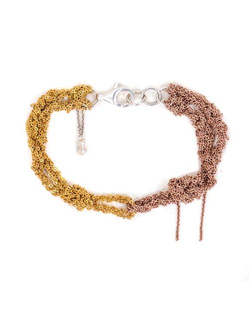 Arielle De Pinto Siamese Bracelet in Yellow & Rose Gold