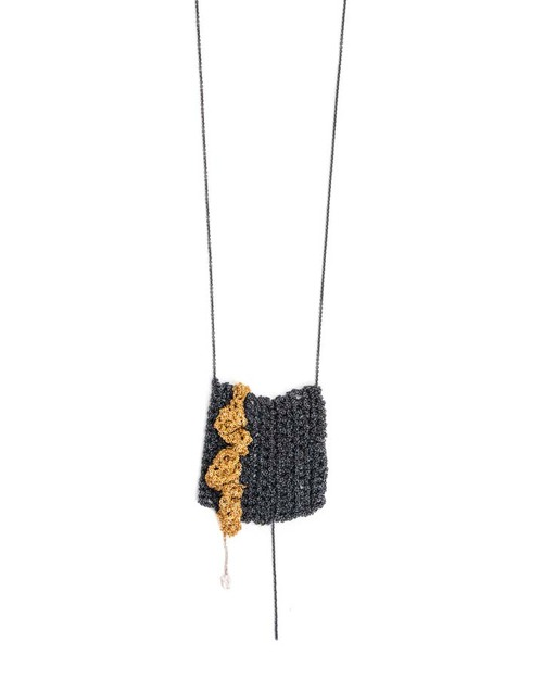 Arielle De Pinto Frill Drop Necklace in Gold + Midnight Sterling Silver