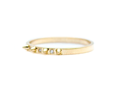 E.M. Gold and Diamond Petite Spike Ring