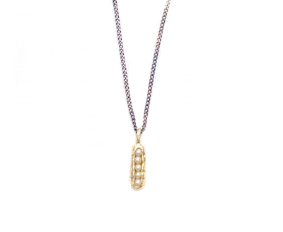 E.M. Gold and Water Pearl Seed Necklace