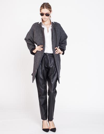 J'apostrophe Leather Front Pleat Pants