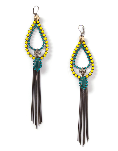 Iosselliani Rams Head Fringe Earrings