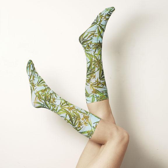 Strathcona Stockings Blue Weed Socks