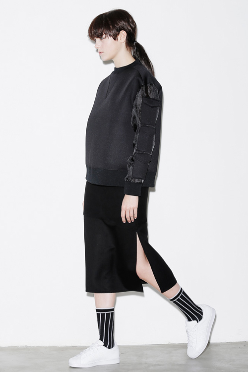 ROCKET X LUNCH Block Side Slit Skirt- Black