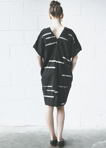 Uzi -Broken Stripe V Dress | Black