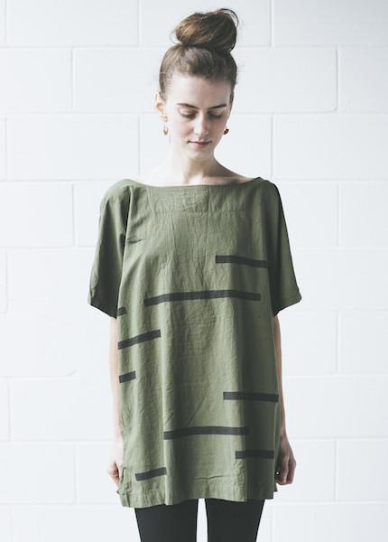 Uzi Broken Stripe Kimono | Olive