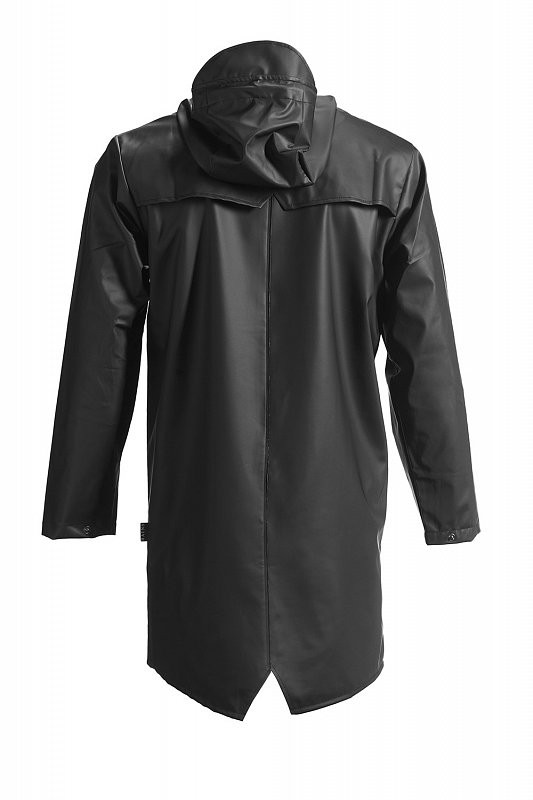 Unisex Rains Black Hooded Rain Coat