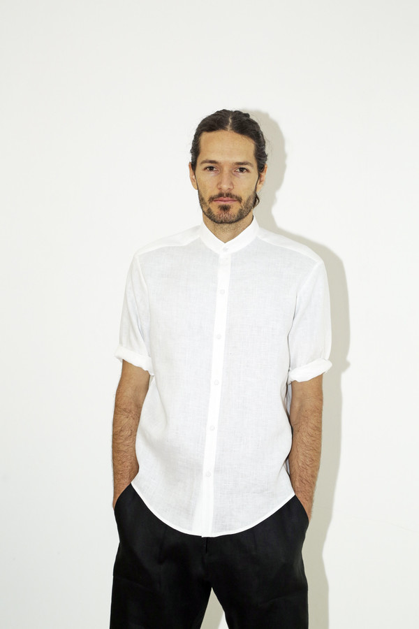 men 39 s assembly white linen no collar shirt garmentory