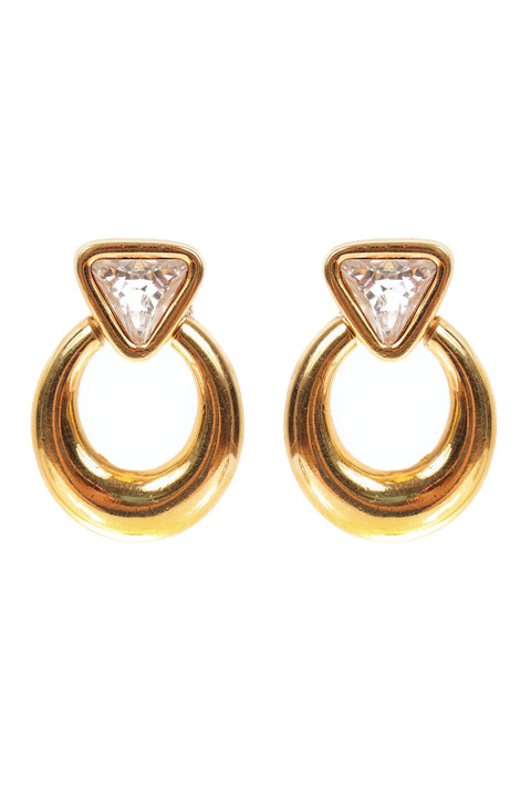 Mode Marteau Vintage Swarovski Hoop Earrings