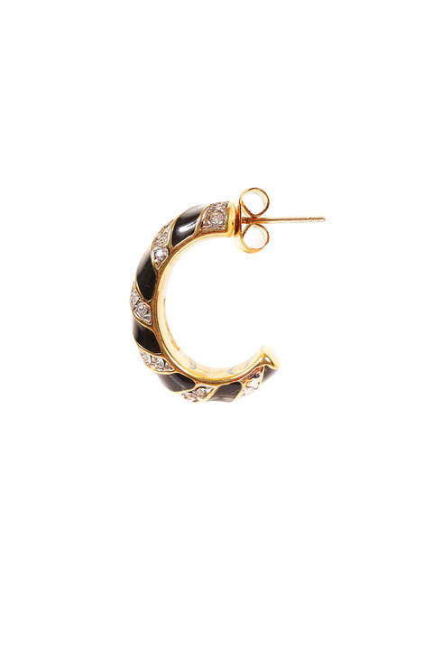 Mode Marteau Vintage Swarovski Half-Hoop Earrings