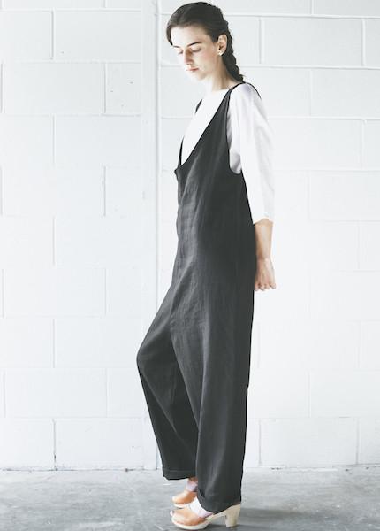 Sunja Link Linen Overalls | Black