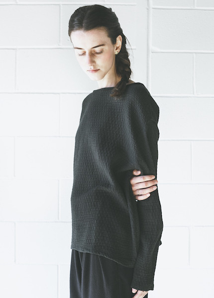 Black Crane Quilted Wide Sweatshirt in Forest