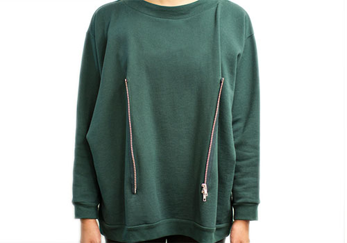 REALITY STUDIO ALEX FOREST GREEN SWEATSHIRT WITH ZIPPERS