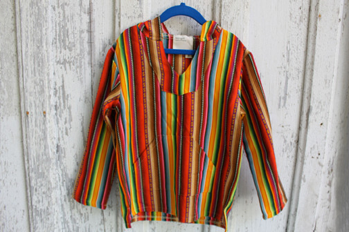 Kid's Boy + Girl: Stripe Baja Poncho