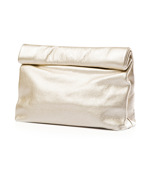Marie Turnor Lunch Clutch in Platinum Pebble Leather