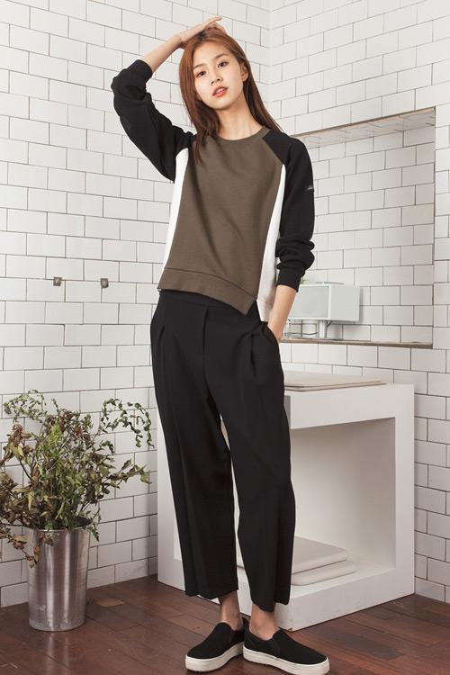 LOOKAST Color Block Sweatshirt | Khaki