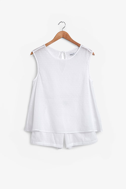 The Sleep Shirt Classic Top and Pleat Short Set White Swiss Dot