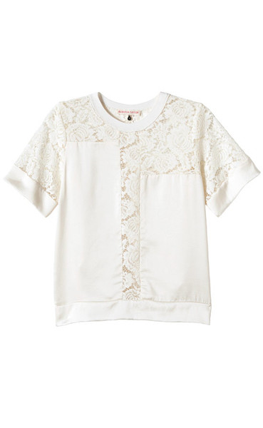 Rebecca Taylor Lace Inset Silk Top