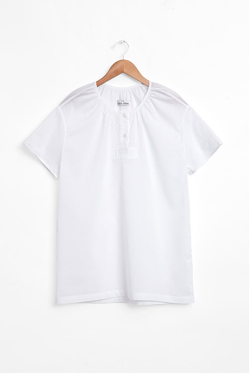 The Sleep Shirt Short Sleeve Nightshirt White Voile