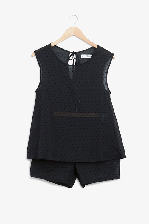 The Sleep Shirt Classic Top and Pleat Short Set Black Swiss Dot