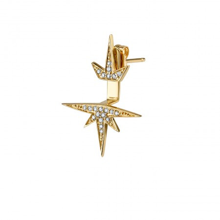 SYDNEY EVAN YELLOW-GOLD + DIAMOND HALF STARBURST SINGLE STUD EARRING