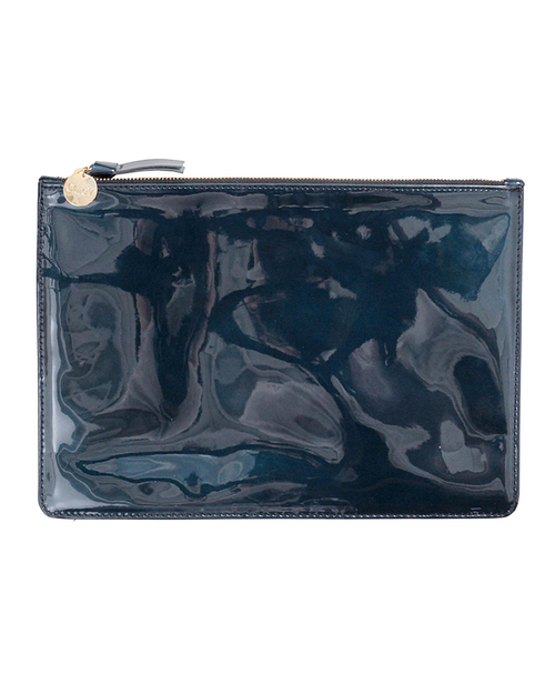 Clare V. Margot Flat Clutch In Prussian Blue Patent Leather
