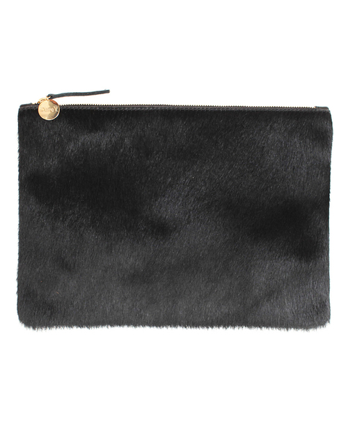 Clare V. Flat Clutch In Black Calf Hair