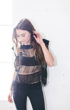 Callahan Crochet Top - Black & Ivory