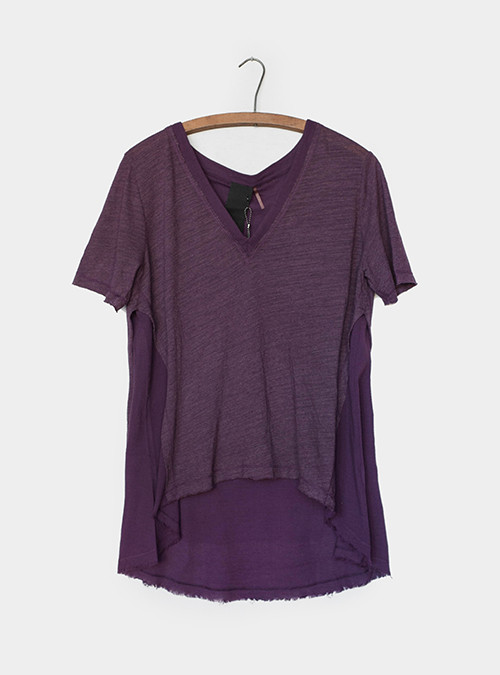 Heather Gauze Vneck Wine