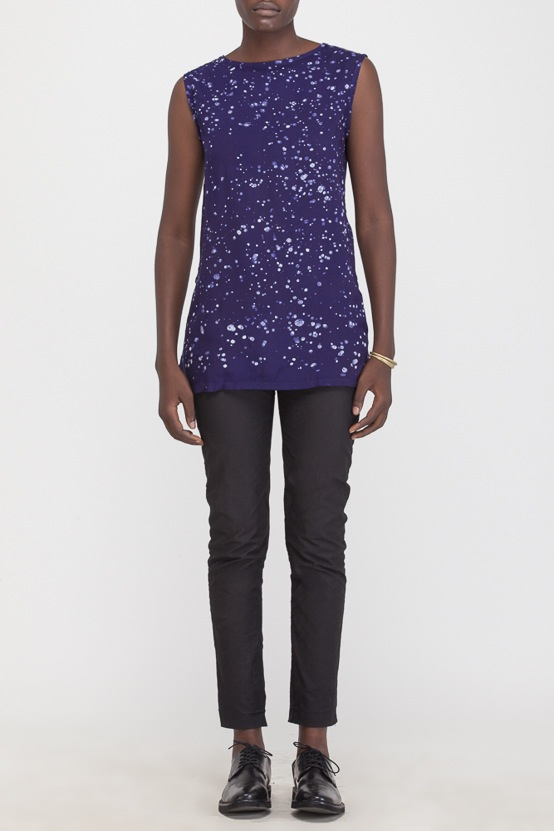 Osei-Duro Taifa Split Top in Navy Splatter