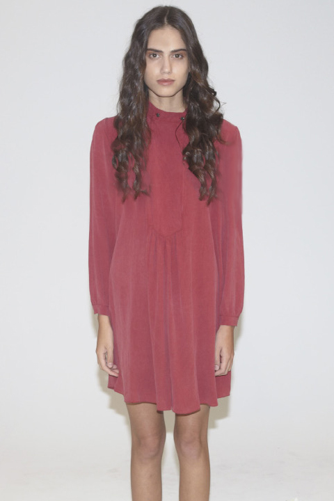 Awaveawake Red Smock Mini Dress