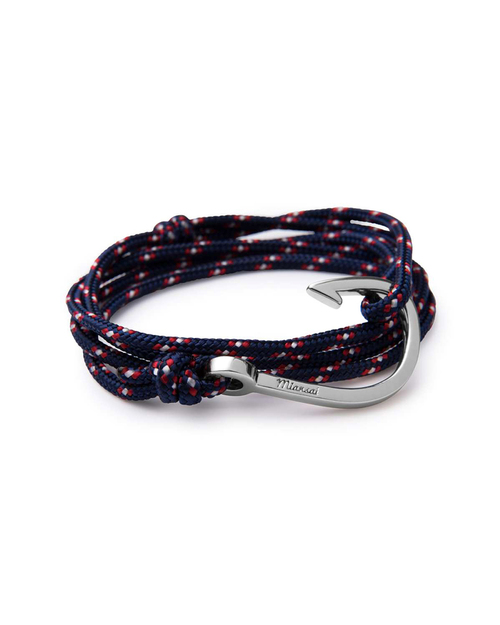Miansai Silver Hook And Navy Rope Wrap Bracelet