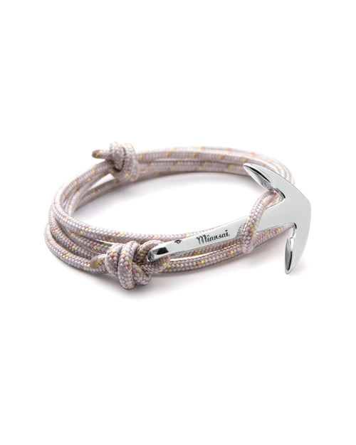 Miansai Silver Anchor And Shadow Rope Wrap Bracelet
