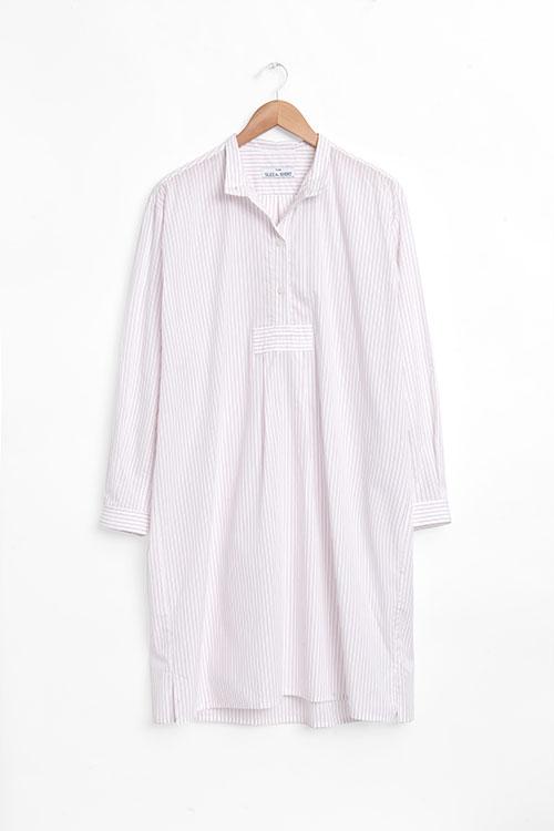 The Sleep Shirt Long Sleep Shirt Red and White Stripe