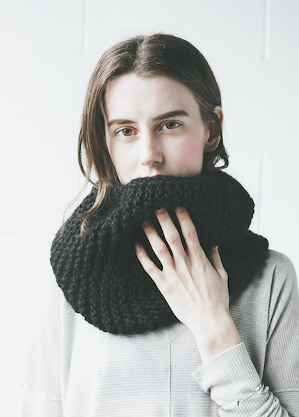 Bare Knitwear Mauro Cowl in Black