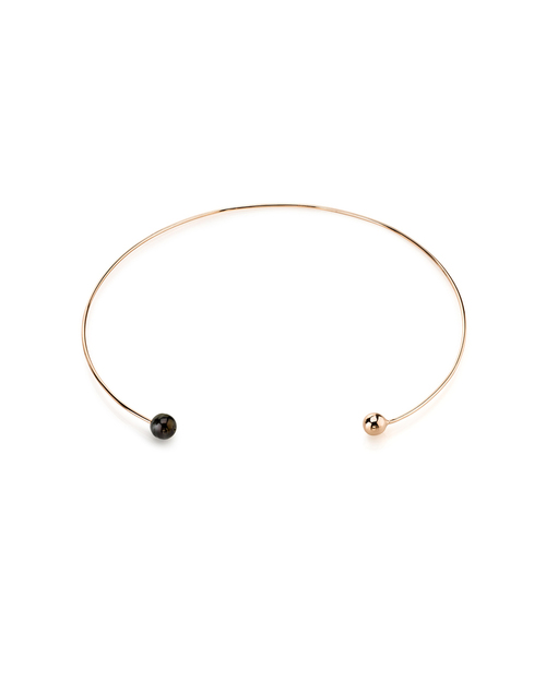 Gabriela Artigas Rose Gold & Black Pearl Orbit Choker