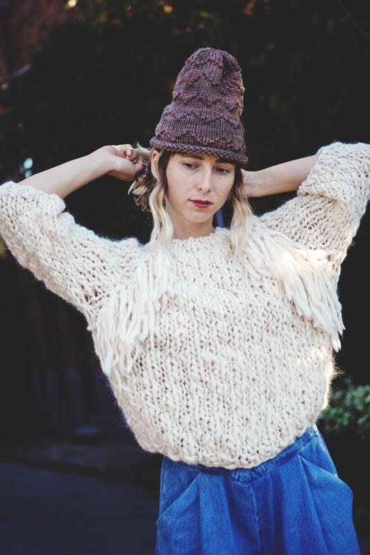 good night, day kingston thick & thin merino sweater (shown in Indigo)