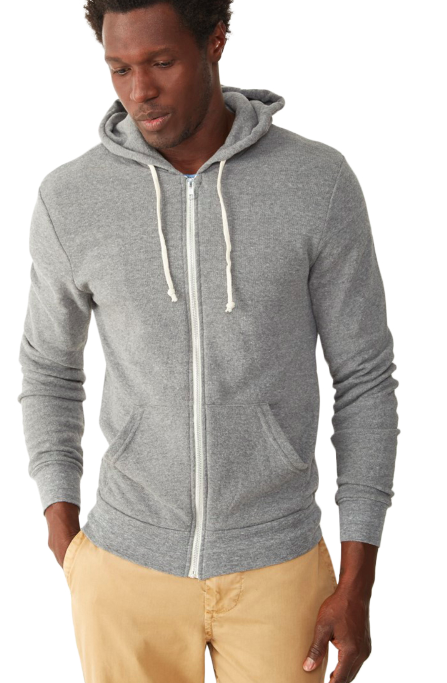 ALTERNATIVE APPAREL Unisex Rocky Eco-Fleece Zip Hoodie - Grey & Navy