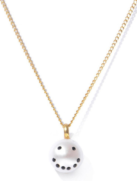 Smiley Emoticon Diamonds & Pearl Pendant