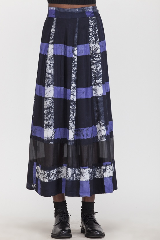 Osei-Duro Kumasi Pleated Skirt Cobalt Grid