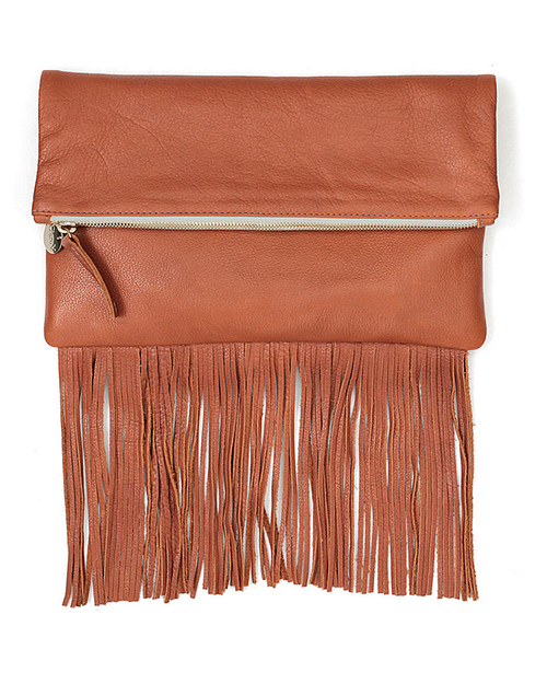 Clare V. Fringe Foldover Clutch in British Tan Leather