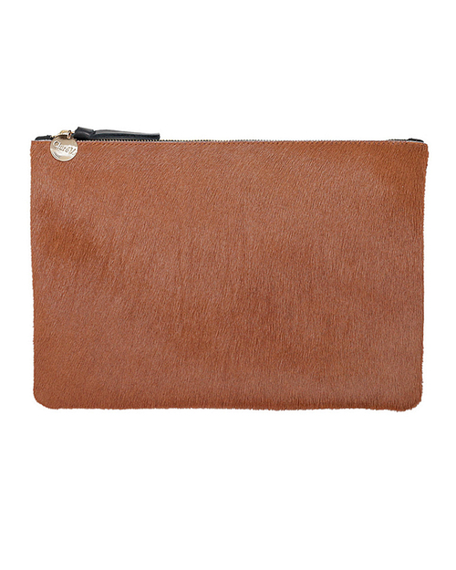 Clare V. Flat Clutch In Camel Calf Hair
