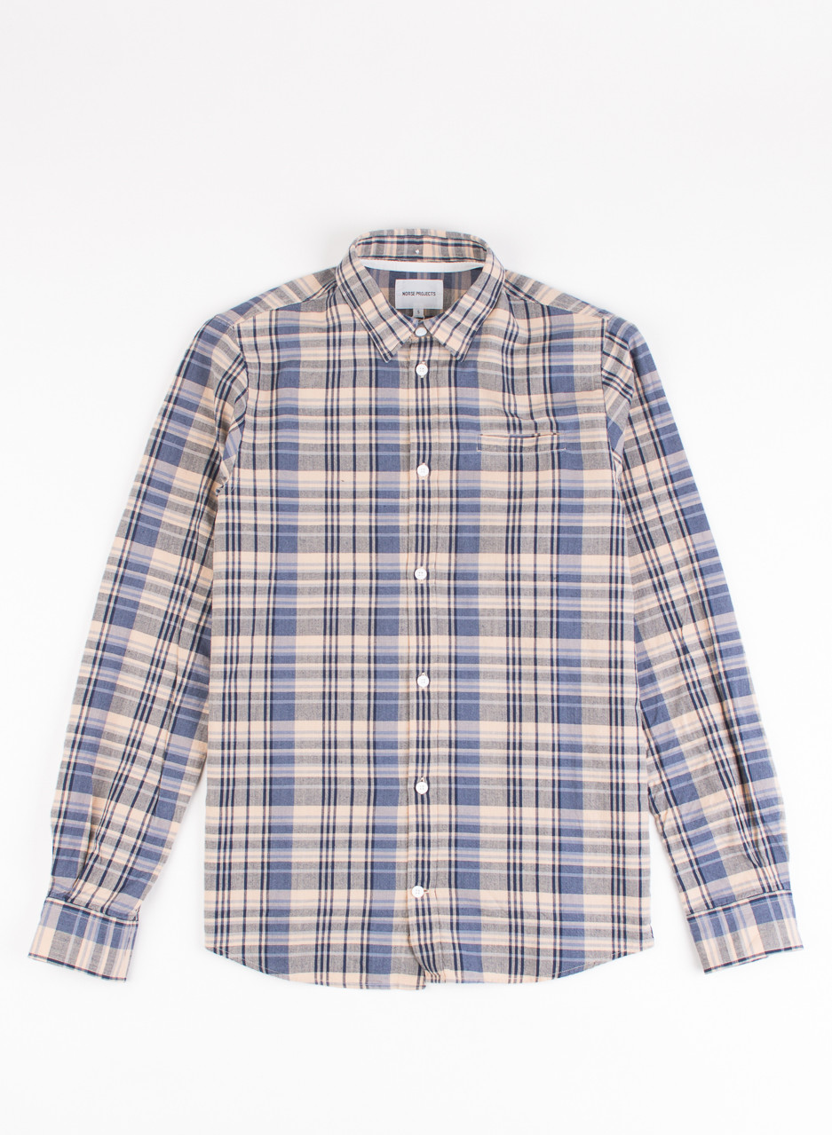 Men 39 s norse projects anton madras shirt navy from for Mens madras shirt sale