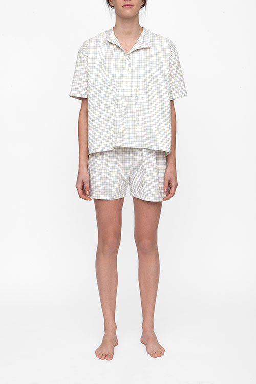 The Sleep Shirt Pleat Short Blue and Maize Check