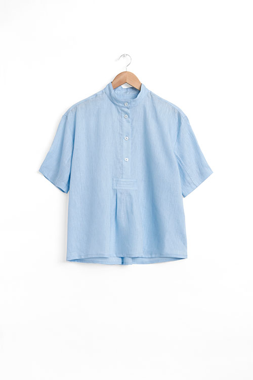The Sleep Shirt Short Sleeve Cropped Sleep Shirt Spa Blue Linen