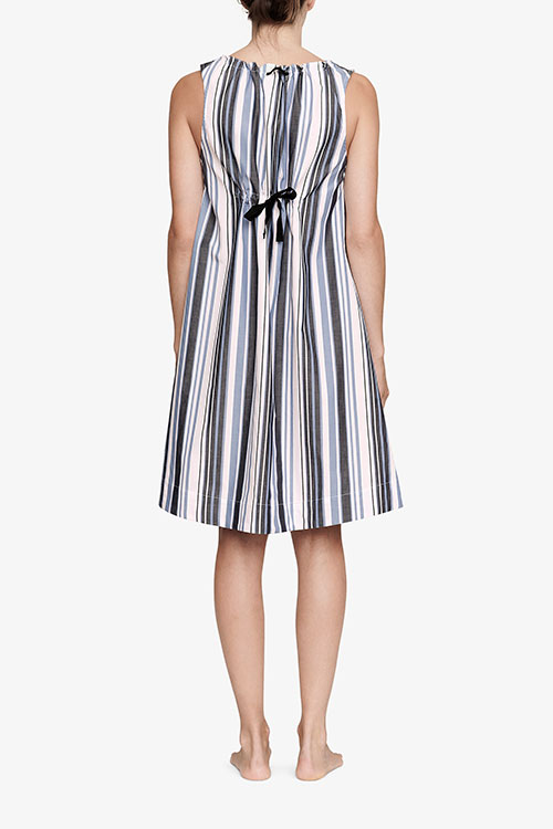 The Sleep Shirt Sleeveless Nightie Blue and Pink Stripe