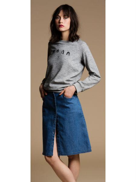 LOUP Indigo Streep Skirt