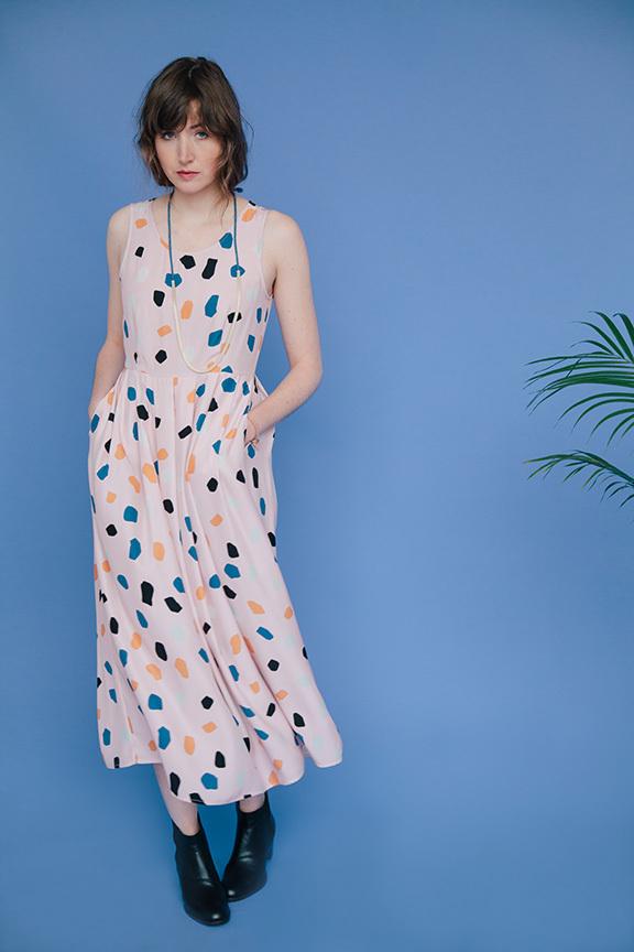 Dusen Dusen Long Pleat Dress-Pink Rocks